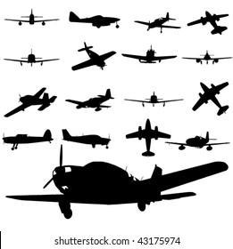vector plane silhouette set