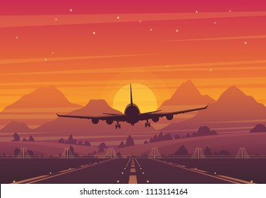 Vector plane taking off from the runway in the sunset. Beautifull illustration of a setting sun and a flying airplane. Peaceful mountains landscape in the background.