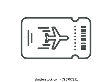 Vector Plane ticket. Simple flat line art style