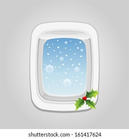 vector plane window at christmas - Separate layers for easy editing
