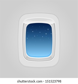 vector plane window at night - Separate layers for easy editing