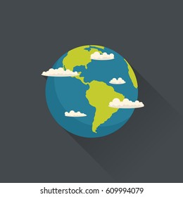 Vector planet Earth with clouds in flat style. Flat design illustration.