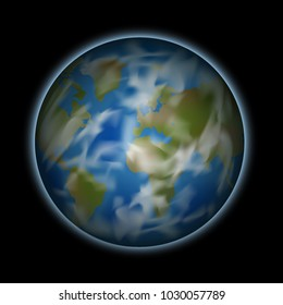 Vector. Planet earth with clouds, view from space, space, illustration vector illustration. The contours of the continents are not true.