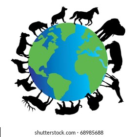 vector planet earth with different animals silhouettes