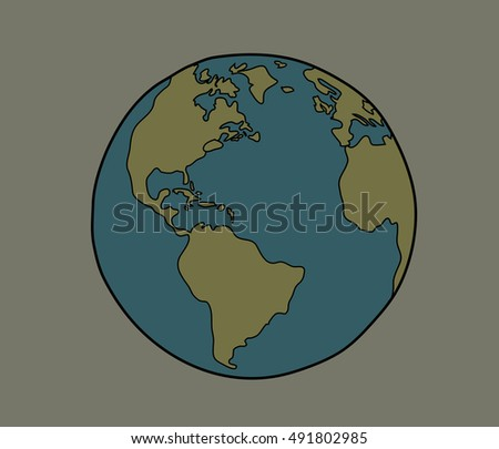 Vector Planet Earth Hand Draw Stock Vector Royalty Free 491802985