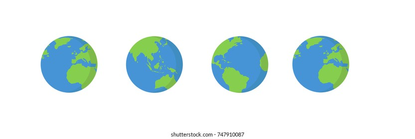 Vector planet Earth icon. Flat planet Earth icon. Flat design vector illustration for web banner, web and mobile, infographics. Vector Earth icon graphic. Vector icon isolated on gradient background