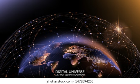 Vector. Planet Earth from space. Flickering lights of cities. Map of the mainland. Global communications system and the World Wide Web. Technologies and communications. Globalization. Luminous sphere.