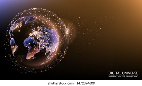 Vector. Planet Earth from space.Technologies and communications. Flickering lights of cities. Map of the mainland. Global communications system and the World Wide Web. Globalization. Luminous sphere.