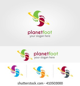Vector Planet Foot design logo template. Flat style