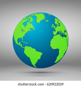 Vector planet icon. Web illustration background. Isolated earth globe. World map design.