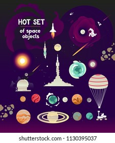 Vector planet set of  flat space  rocket objects at take-off, rover, solar system planets, observatory, meteorites, black hole,  parachute. Cosmonautics Day banner rocket cosmonaut.Astronaut in space
