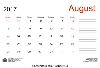 Vector planning calendar August 2017 Monthly scheduler. Week starts on Sunday.