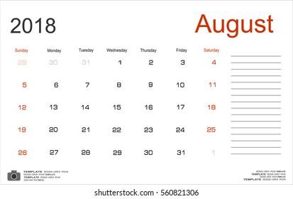 Vector planning calendar August 2018 Monthly scheduler. Week starts on Sunday.