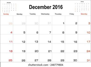 Vector planning calendar  December 2016