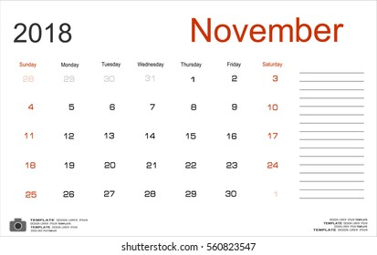 Vector planning calendar November 2018 Monthly scheduler. Week starts on Sunday.