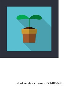 Vector plant sprout in pot, flat design icon with long shadow/ Plant sprout