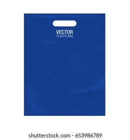 Vector plastic bag template isolated on background. Blue plastic bag realistic mockup.