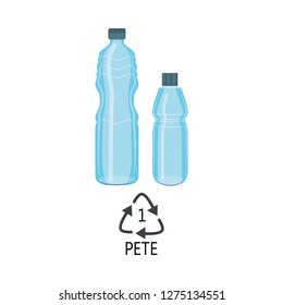 Vector plastic bottles PETE mark icon. Blue clean container for bottled mineral water, fresh beverage or juice that can be recycled. Sport drink empty bottle packaging. Isolated illustration