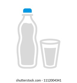 vector plastic water bottle, drink container illustration - fresh mineral water