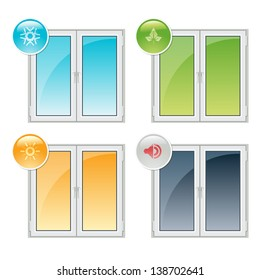 Vector plastic windows properties - thermal insulation, noise reduction, and recyclability
