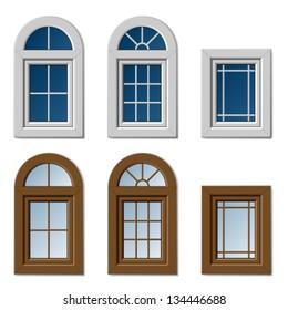 vector plastic windows white brown
