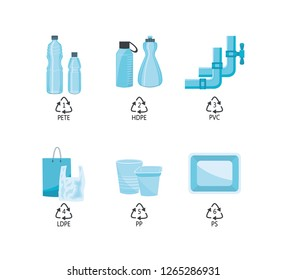 Vector plastics types with recycling mark and product examples. PETE, HDPE, PVC LDPE PP and PS plastics. Water pipe, water bottles, shopping bags food packages. Isolated illustration