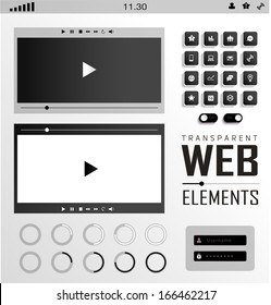 Vector plat transparent Web, mobile Elements, icons. Buttons and Label