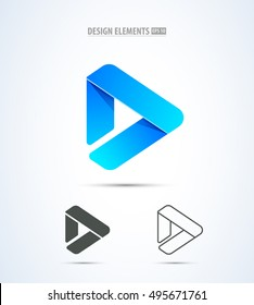 Vector play logo icon. Video application icon design template. Music player. Line art. Paper origami collection. Application icon design. Material design
