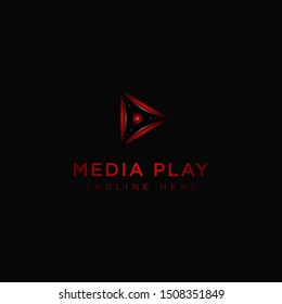 Vector play logo. Video application icon design template. Geometric collection. Material design. Play icon. Music and video player logo elements. Neon play logo.