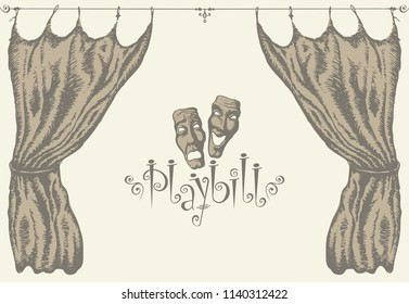 Vector playbill with a theater curtain and theater masks in retro style. Hand-drawn illustration on the theme of modern theatrical art