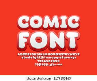 Vector Playful Comic Font. Set of Funny Alphabet Letters, Numbers and Symbols.
