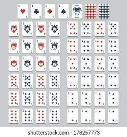 Vector playing cards, flat style