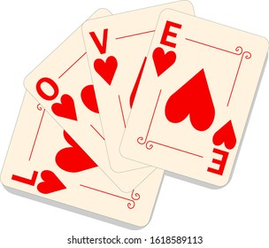 Vector playing cards with hearts and the word