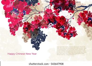 Vector Plum Blossom.Traditional chinese elements.