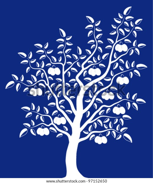 vector plum tree on blue background