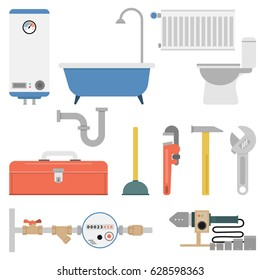 Vector plumber flat set isolated on white background. Bathtub, radiator, water meter, boiler and special tool