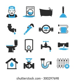 Vector plumbing icons set