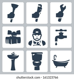 Vector plumbing icons set: plunger, adjustable wrench, spanner, ball cock, plumber, faucet, washbasin, toilet bowl, bathtub