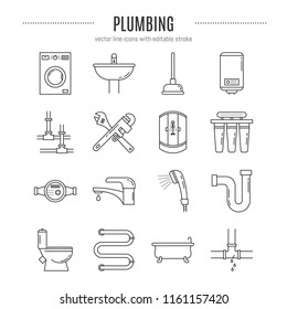 Vector Plumbing service icon set in linear style- bathtub, pipes, shower cabin, tools, water filter, toilet and etc. Editable stroke