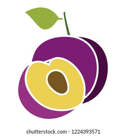 vector plums icon. Flat illustration of fresh plums. plums fruit isolated on white background. plums slice sign symbol
