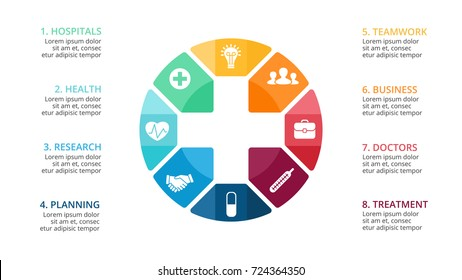 Vector plus infographic, medical diagram, healthcare graph, hospital presentation, emergency chart. Medicine doctor logo. Concept infographics with 8 options, parts, steps, processes.