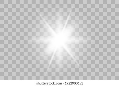 Vector png glowing light effect. Shine, glare, flare, flash illustration. White star on transparent.