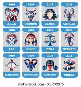 Vector pocket calendar template with flat zodiac signs, horoscope, astrology. Aquarius, Virgo, Scorpio, Taurus, Pisces, Sagittarius, Leo, Libra, Aries, Capricorn, Gemini, Cancer
