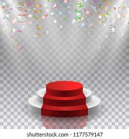 Vector podium with red carpet, reflection and colorful falling confetti and glowing lights on transparent background - awards, ceremony, exhibition template