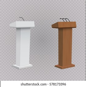 Vector Podium Tribune with Microphones Isolated.vector illustration