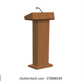Vector Podium Tribune Stand with Microphones Isolated.vector illustration