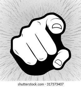 Vector pointing finger or hand pointing icon isolated on grey background