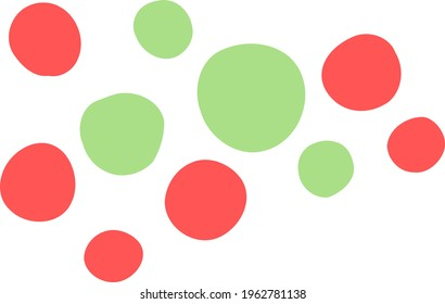 Vector points. Red and green spots. Rounded geometric shapes of different sizes. Modern design assets for creating social media posts, stories. Hand-drawn abstract clip art of  speck. Isolated doodle