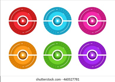 Vector pokeball icon set for play in game