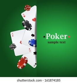 Vector poker background with playing cards, chips and dices